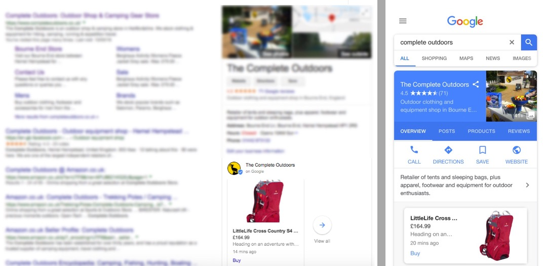 Google My Business product posts on the SERPs