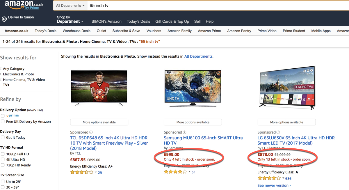 Ecommerce Tactics - Scarcity - Amazon