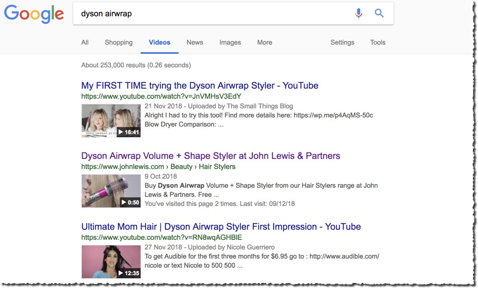 Google video search - Dyson airwrap