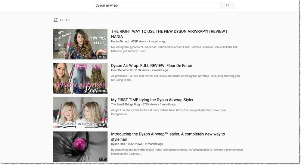 YouTube Search For dyson airwrap - Video Optimisation