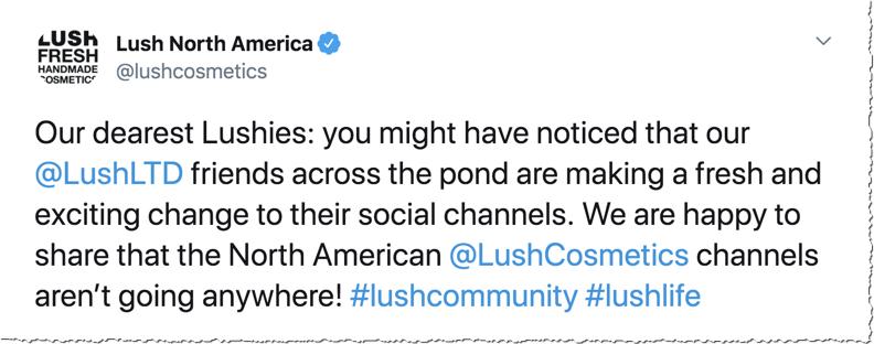 Lush Cosmetics North America Twitter