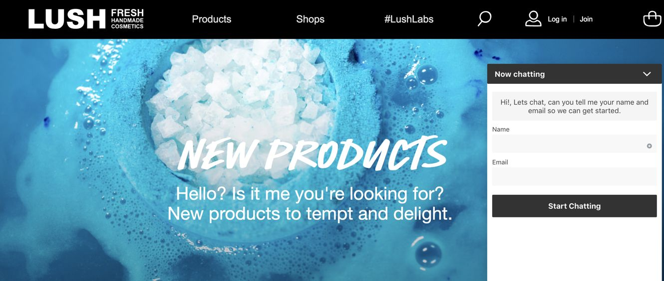 Lush UK Cosmetics - Website Live Chat