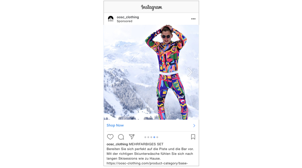 Example Instagram advert for OOSC Clothing in German