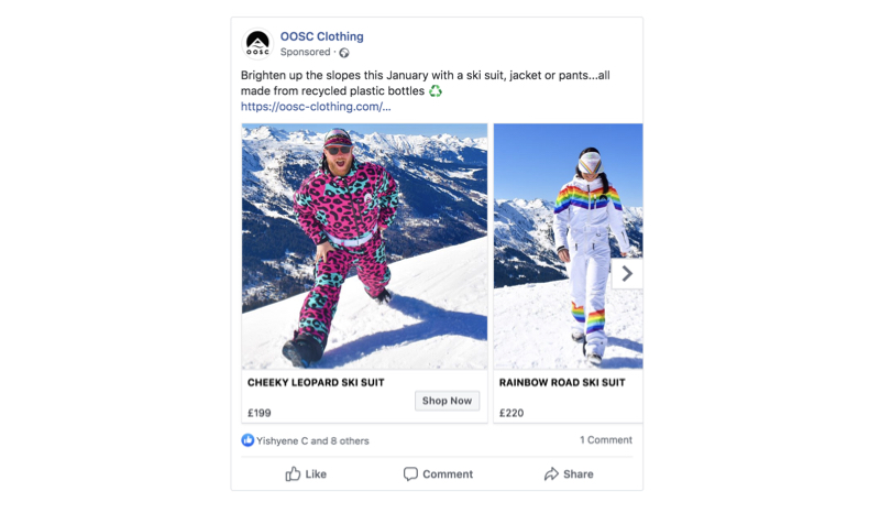 OOSC Clothing - Example Facebook advert