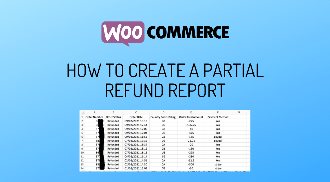 Set Up A Partial Refund Report WooCommerce
