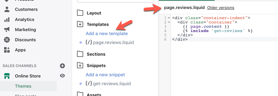 Shopify Reviews on One Page Template