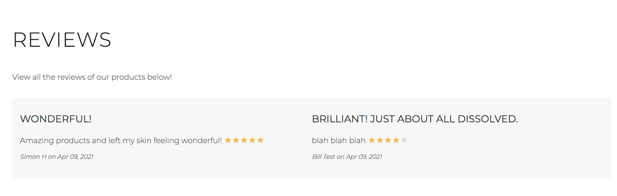 Shopify Reviews on One Page